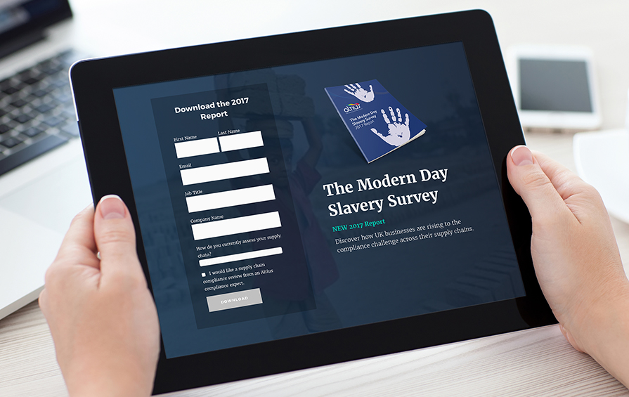 Modern slavery report for Altius's inbound marketing campaigns